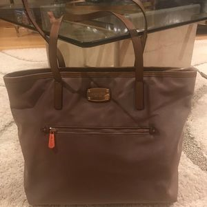 Michael Kors Large Nylon Tote Bag w/Leather Trim